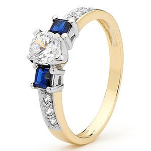Image of Sapphire and Cubic Zirconia CZ Gold Ring (25384/SSCZ)