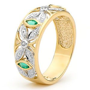 Image of Emerald and Diamond Gold Ring - Art Deco (25388/G)