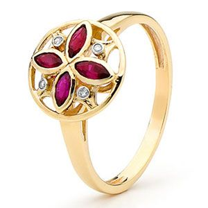 Ruby and Diamond Gold Ring - Art Deco