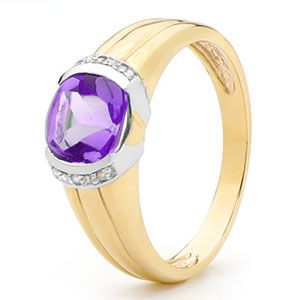 Image of Amethyst and Diamond Gold Ring (25394/AM)