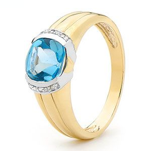 Image of Blue Topaz and Diamond Gold Ring - Cushion Cut (25394/BT)