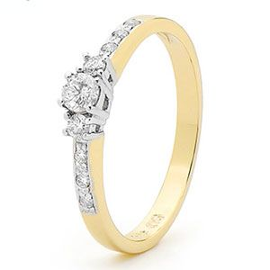 Image of Diamond Gold Ring - Engagement Solitaire Shoulder (25399/B245)