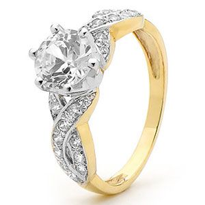 Image of Cubic Zirconia CZ Gold Ring - Engagement CZ Infinity (25403/CZ)