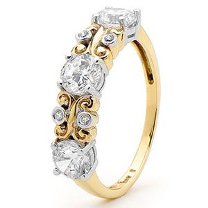 Image of Cubic Zirconia CZ Gold Ring - Scroll work (25404/CZ)