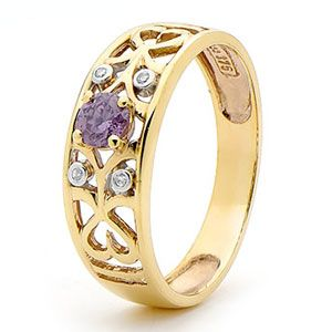 Image of Amethyst and Diamond Gold Ring - Filgree (25406/AM)