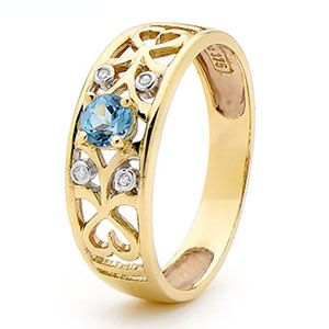 Blue Topaz and Diamond Gold Ring