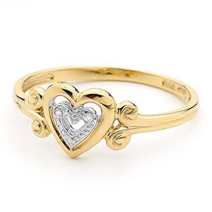 Image of Diamond Gold Ring - Heart Scroll (25414)