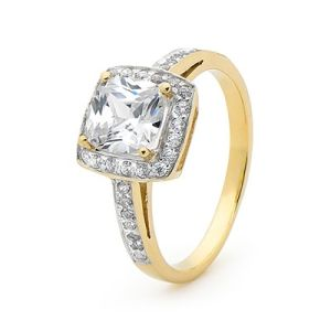 Image of Cubic Zirconia CZ Gold Ring - Engagement Halo (25419/CZ)