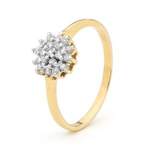 Image of Cubic Zirconia CZ Gold Ring - Flower Cluster (25432/CZ)