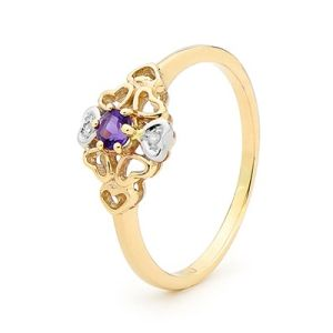 Amethyst and Diamond Gold Ring - Heart Filigree Design
