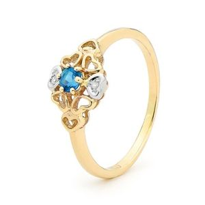 Image of Blue Topaz and Diamond Gold Ring - Heart Flower (25435/BT)