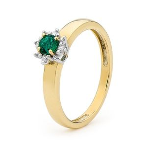 Image of Emerald and Diamond Gold Ring - Cluster Round (25442/G)