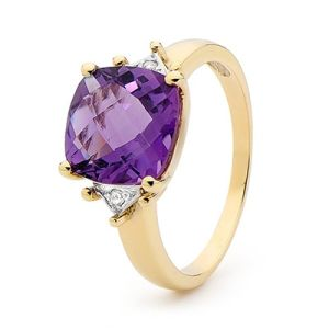 Image of Amethyst and Diamond Gold Ring - Cocktail Cushion Cut (25443/AM)