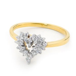 Image of Cubic Zirconia CZ Gold Ring - Heart (25467/CZ)