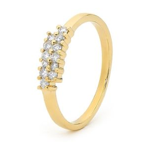 Diamond Gold Ring - Cluster Double Row