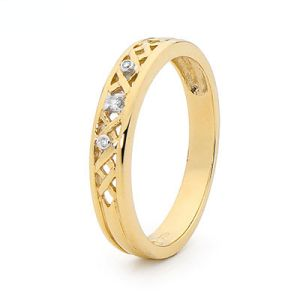 Image of Diamond Gold Ring - Weave (25483)