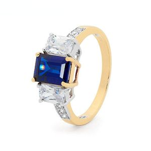 Image of Sapphire and Cubic Zirconia CZ Gold Ring - Engagement Trilogy (25485/S