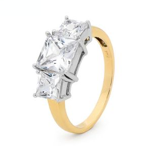 Image of Cubic Zirconia CZ Gold Ring - Engagement (25486/CZ)