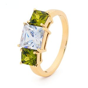 Olive Cubic Zirconia CZ Gold Ring - Cocktail