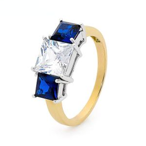 Sapphire and Cubic Zirconia CZ Gold Ring - Trilogy
