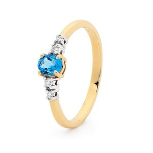 Image of Blue Topaz and Diamond Gold Ring - Shoulder Solitaire (25487/BT)