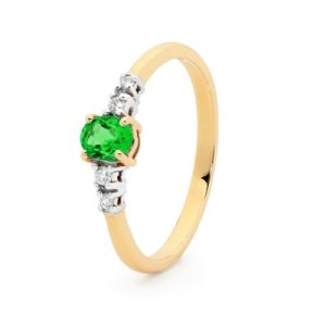 Emerald and Diamond Gold Ring - Classic Design