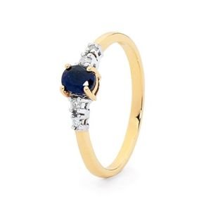 Image of Sapphire and Diamond Gold Ring - Shoulder Solitaire (25487/S)