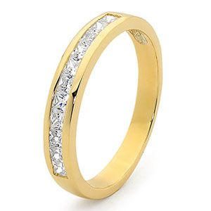 Image of Cubic Zirconia CZ Gold Ring - Eternity Band (25514/CZ)