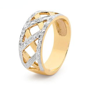 Image of Diamond Gold Ring - Basket Weave (25518)