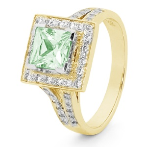 Image of Aqua Green Cubic Zirconia CZ Gold Ring - Square Halo (25522/CZAG)