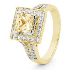 Yellow Cubic Zirconia CZ Gold Ring - Cluster