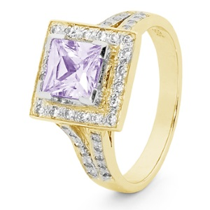 Image of Lavender Cubic Zirconia CZ Gold Ring - Halo (25522/CZLR)