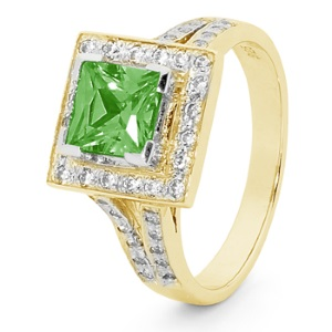 Image of Green Cubic Zirconia CZ Gold Ring - Halo (25522/CZPT)
