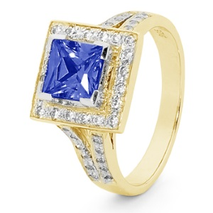 Image of Sapphire and Cubic Zirconia CZ Gold Ring - Halo (25522/SACR)