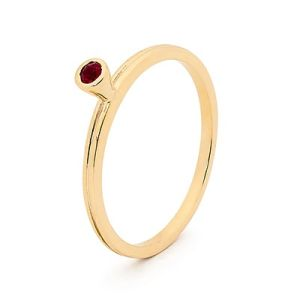 Image of Ruby Gold Ring - Stackable Bezel Set (25546/CR)
