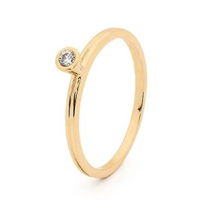 Image of Cubic Zirconia CZ Gold Ring - Stackable Bezel Set (25546/CZ)