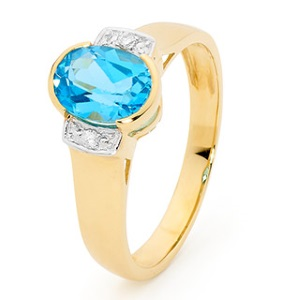 Image of Blue Topaz and Diamond Gold Ring (25587/BT)