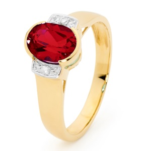 Image of Ruby and Diamond Gold Ring - Shoulder Diamonds (25587/CR)