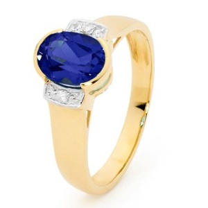 Image of Sapphire and Diamond Gold Ring (25587/SS)