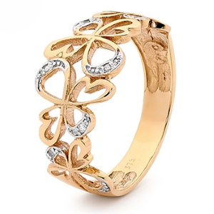 Image of Diamond Gold Ring - Angels (25592)