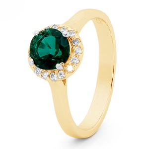 Emerald Gold Ring - Halo Round