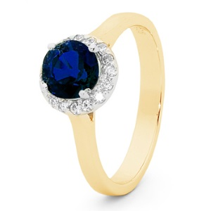 Image of Sapphire Gold Ring - Halo Round (25598/SLG)