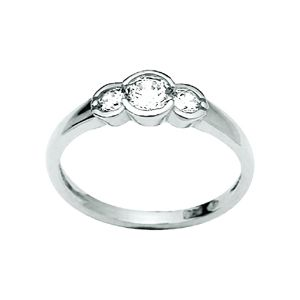 Image of Cubic Zirconia CZ Silver Ring - Trilogy (33236/CZ)