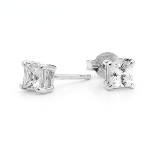 Image of Cubic Zirconia CZ Silver Earrings - Square 5mm (33237/CZ)