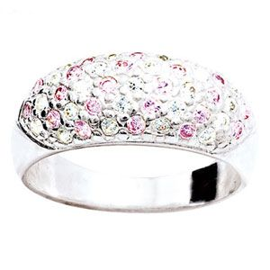 Image of Pink Cubic Zirconia CZ Silver Ring (33875/CZP)