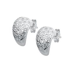 Image of Cubic Zirconia CZ Silver Earrings - Pave Huggie (33910/CZ)