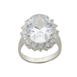 Image of Cubic Zirconia CZ Silver Ring - Cocktail Halo (34309/CZ)