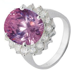 Image of Purple Cubic Zirconia CZ and White CZ Silver Ring - Size N (34309/CZAM