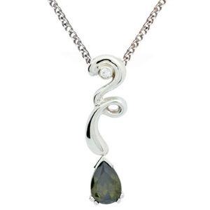Image of Olive Cubic Zirconia CZ and White CZ Silver Pendant (34438/CZPT)
