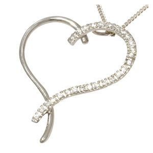 Image of Cubic Zirconia CZ Silver Pendant and Chain - Heart (34813/CZ)